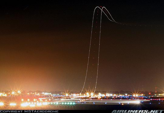 Long exposure photo of a plane taking off