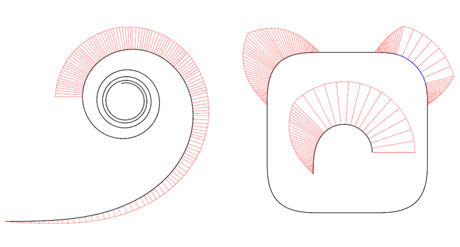 iOS icon rounded corner study Euler spiral