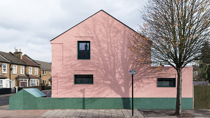 Pink green house designed by Office S&M